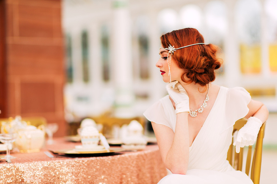 A vintage style bride looking away from camera (Ioan Said / Celynnen Photography)