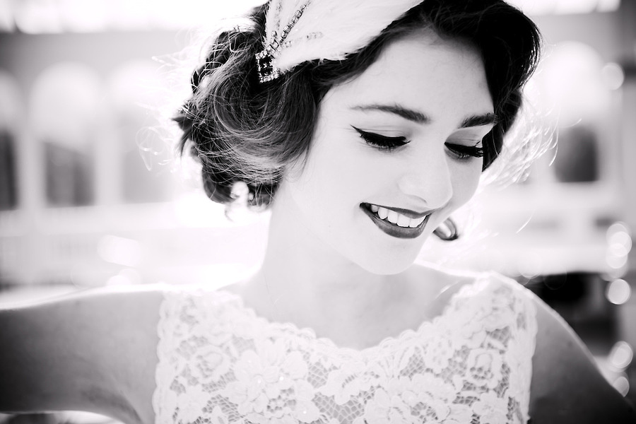 A black and white portrait of a vintage style bride. (Ioan Said / Celynnen Photography)