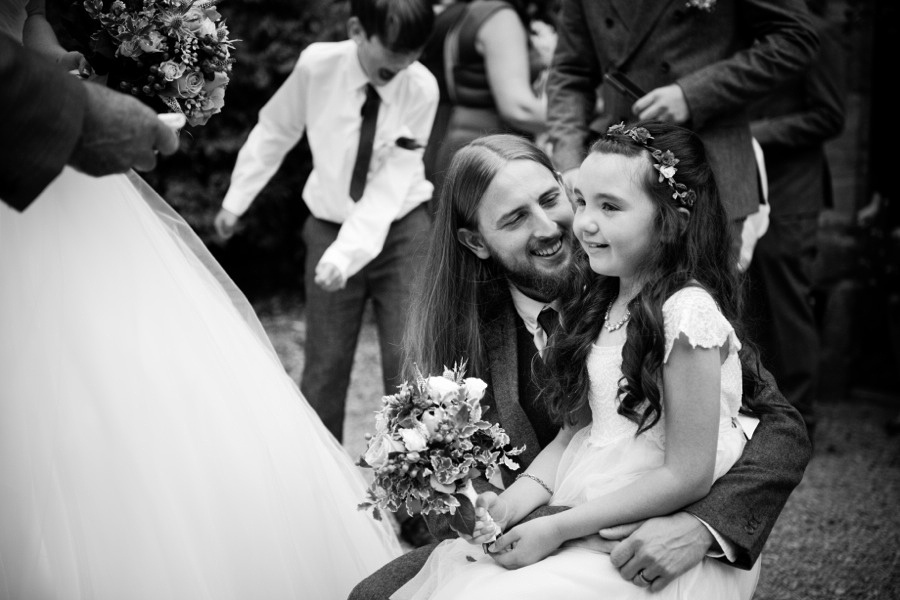 Father and daughter at a wedding at Gwydir Castle, Conwy. North Wales Wedding photographer, Celynnen Photography