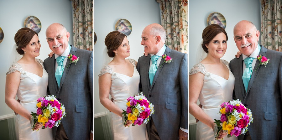 Father of the bride and daughter before her wedding in Beaumaris
