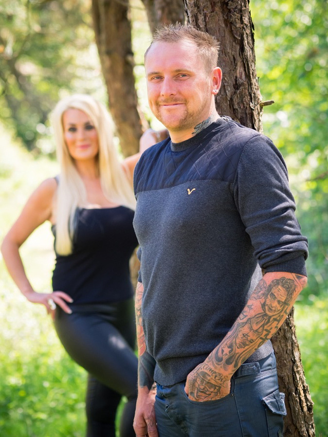 A picture of Beth & Chris amongst the trees on their Pre Wedding Shoot.