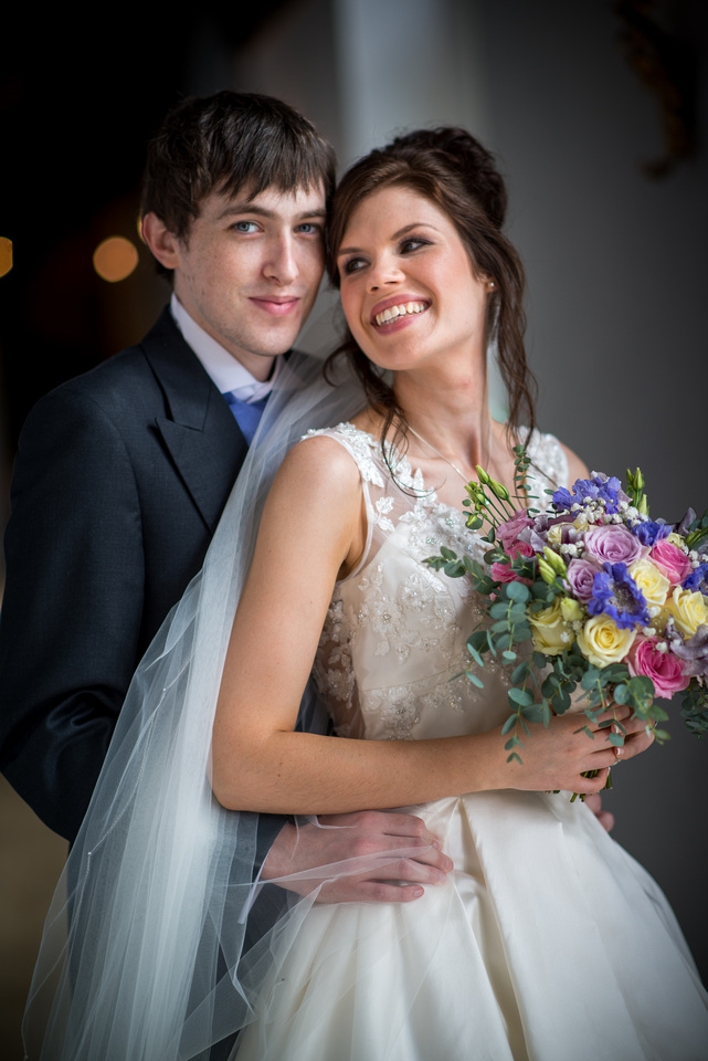 Colour portrait of the bride and groom from a wedding at Ruthin Castle.