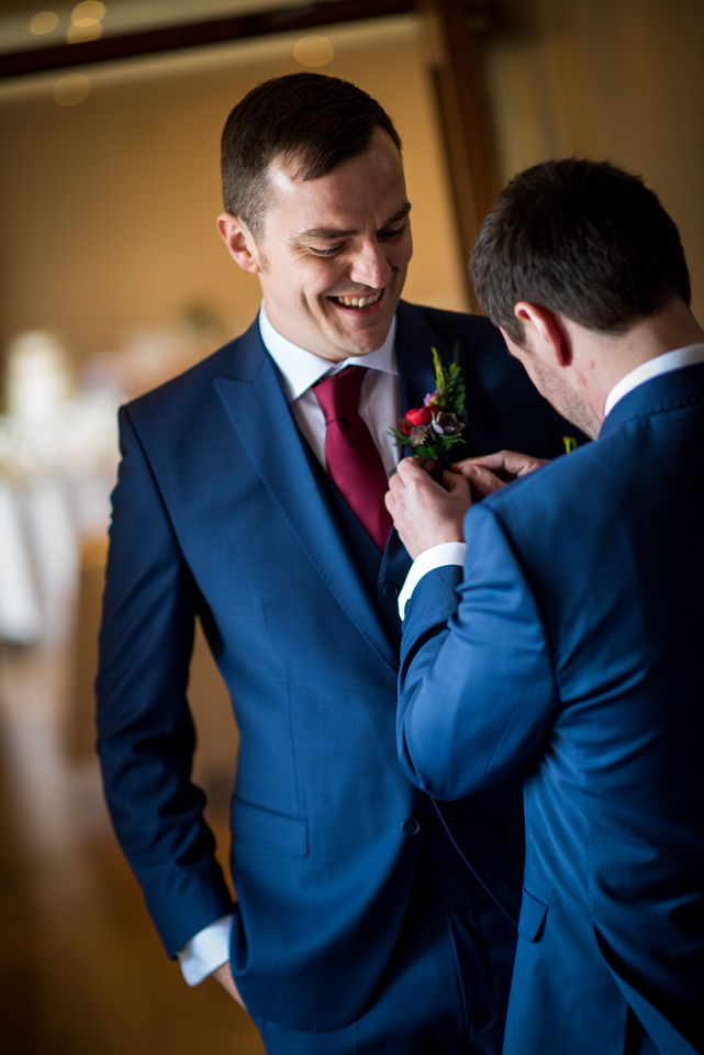Photograph of the groom and his best man before the wedding ceremony at Beeston Manor.