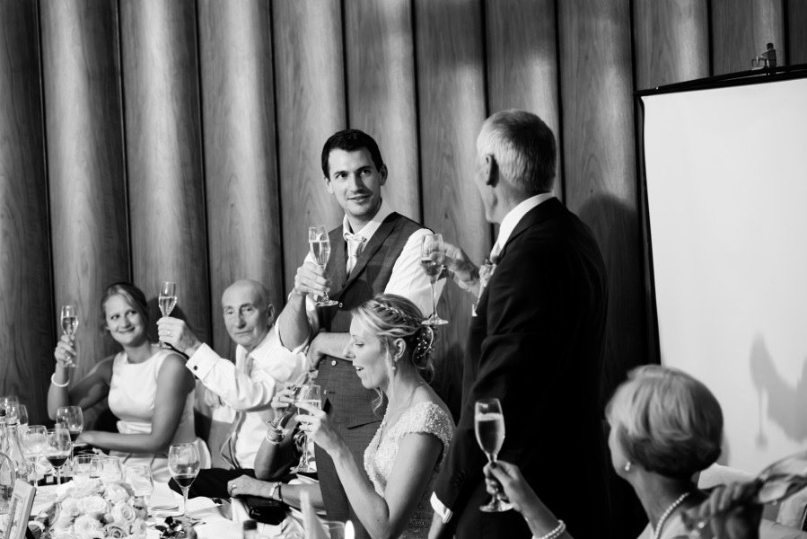 Everyone toasting during the speeches at a wedding in Portmeirion. Wedding Photographer, Celynnen Photography